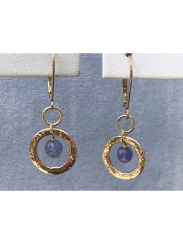 Petite Handwrought Gold Link with Tanzanite Drop Earrings