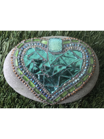 Soft Greens and Teal Heart Mosaic #23
