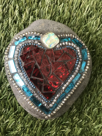 Turquoise and Red Heart Mosaic Beach Rock #24