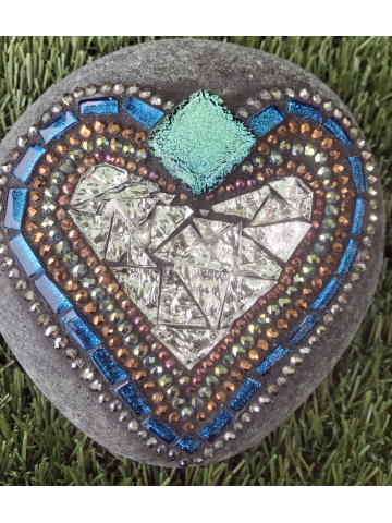 Teal and Silver Mosaic Heart Rock #25