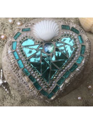 Ocean Blue and Shells Mosaic Heart Rock #26