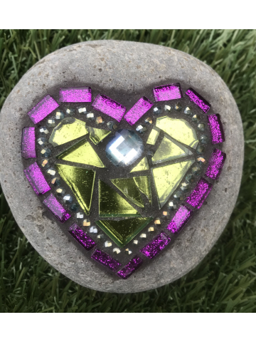 Green and Purple Mosaic Heart Rock #30