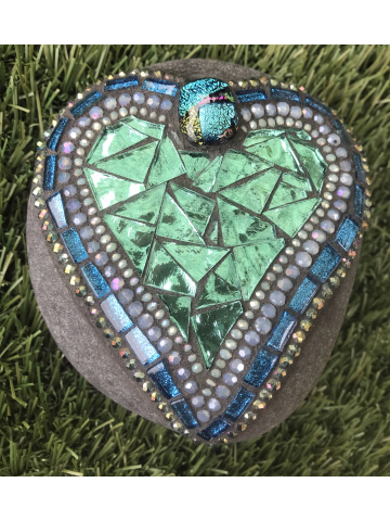 Blues and Greens Mosaic Heart Rock #33
