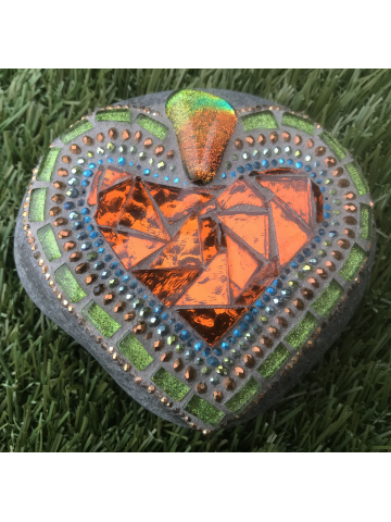Bright Shiny Mosaic Heart Rock #34