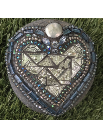 Evening Blue Mosaic Heart Rock #35