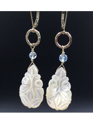 Carved Mother of Pearl, Topaz and Handwrought Link Earrings