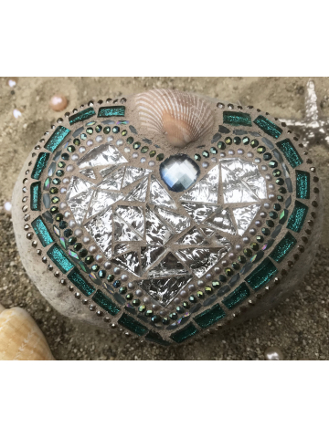 Silver and Ocean Blue Heart Mosaic Rock #41
