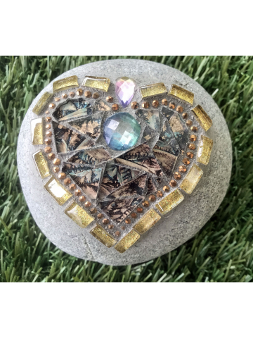 Smaller Copper and Gold Mosaic Heart Rock #47