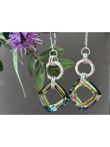 Handwrought Silver Link and Sahara Crystal link Earrings
