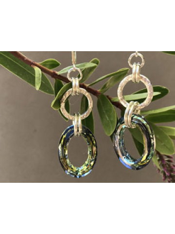 Handwrought Sterling SilverLink and Sahara Crystal Oval Earrings