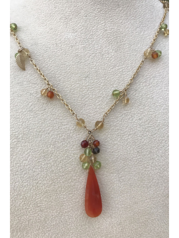 Carnelian Teardrop with Peridot, Citrine and Smoky Quartz