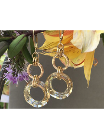 Handwrought Large 14K Gold Fill Links with Crystal Golden Shadow Link Earrings
