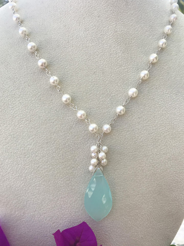 Chalcedony Leaf Drop with Akoya Pearls Necklace in Sterling SIlver