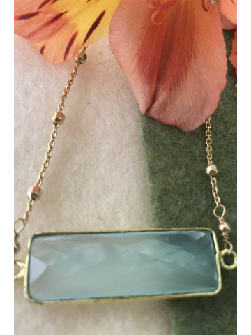Chalcedony Bar Necklace