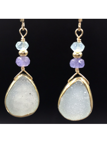 Chalcedony Druzy and Tanzanite Earrings