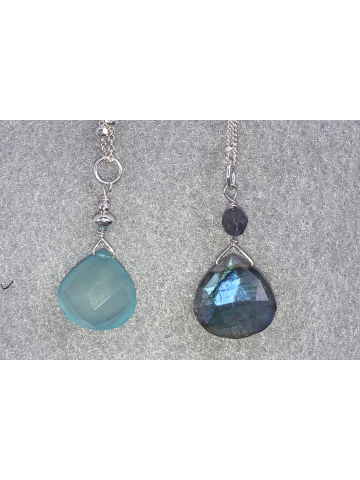 Chalcedony or Labradorite Simple Drops