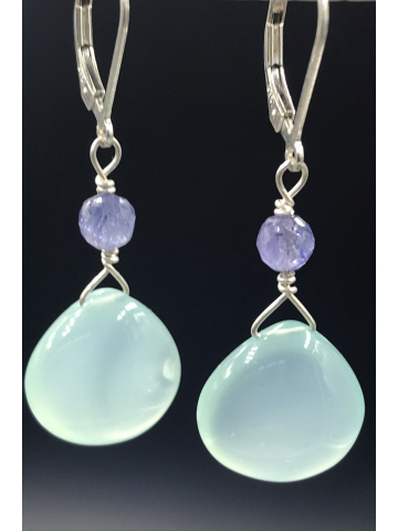 Chalcedony Briolettes with Tanzanite on Silver Leverbacks