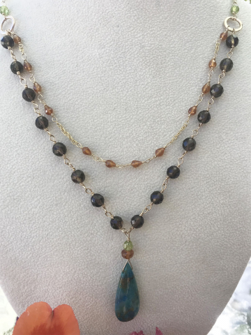 Chrysocolla, Hessonite Garnet, Smoky Quartz and Peridot double drop Necklace