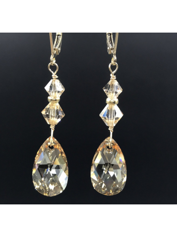 Golden Shadow Crystal Drop Earrings