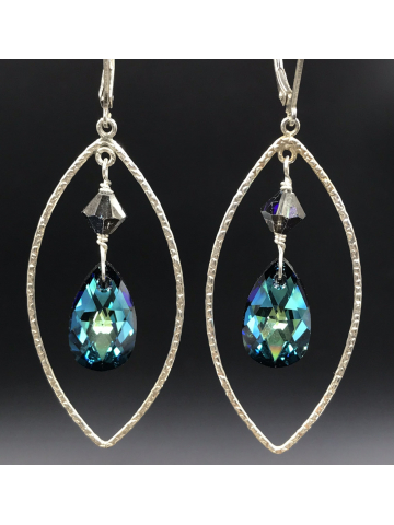 Bermuda Blue Framed Drop Earrings