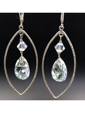 Sterling Silver Marquis Frames with Swarovski Crystal Pendant Earrings