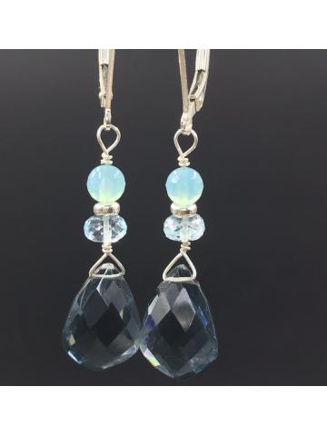 London Blue Topaz, Swiss Blue topaz, and Chalcedony earrings