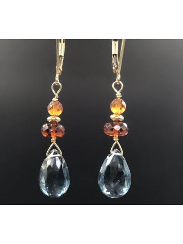 London Blue Topaz, Hessonite Garnet and Citrine drop earrings