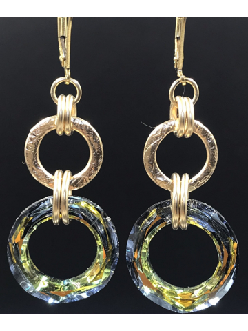 Handwrought 14K Gold fill link and Sahara Crystal Link Earrings