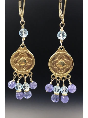 Tanzanite and Swiss Blue Topaz Gemstone Earrings
