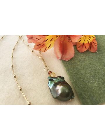 Green Baroque Pearl, Citrine and Carnelian