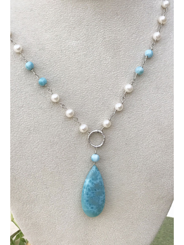 Larimar Pendant with Fresh water pearls