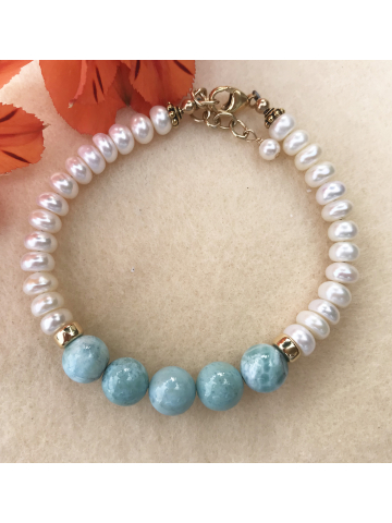 Larimar and Freshwater Pearl Bracelet