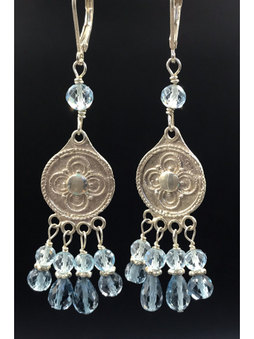 London Blue And Swiss Blue Topaz Gemstone Chandelier Earrings