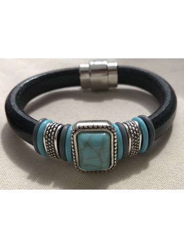 Turquoise colored Stone on Black Leather
