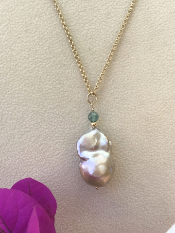 Beige Baroque Pearl with London Blue Topaz and Gold fill Chain