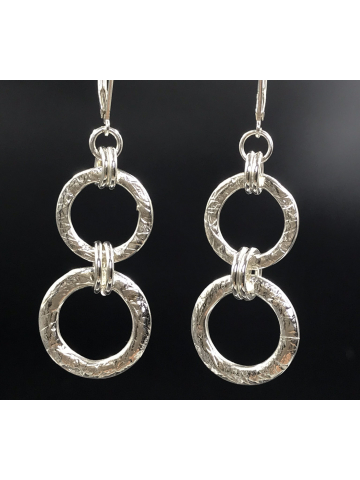 Double Sterling Silver Link Earrings