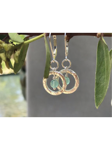Petite Handwrought 14K Gold fill link with Aqua Chalcedony Drop Earrings