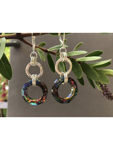 Handforged Silver Link with Volcano Crystal Link Earrings