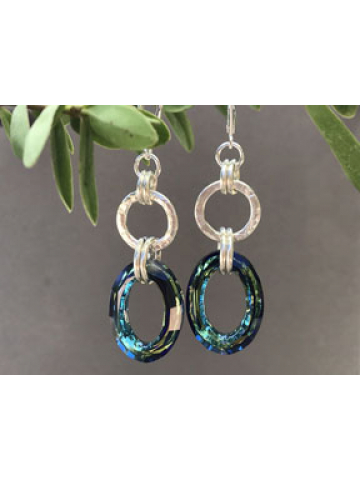 Handforged Sterling Silver Link and Bermuda Blue Crystal Link Earrings