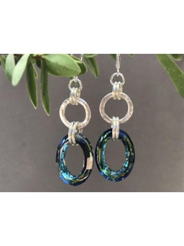 Handforged Sterling Silver Link and Bermuda Blue Crystal Link Earrings