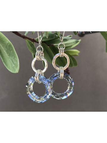 Handwrought Sterling Silver Link and Swarovski Crystal Link Earrings