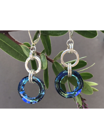 Handwrought Sterling Silver Link with Bermuda Blue Link Earrings