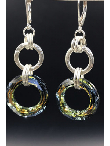 Sterling Silverl Link and Sahara Crystal Link Earrings