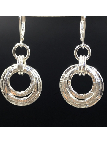 Hand forged Sterling Silver Triple Stack Link Earrings